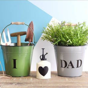 Pale Blue Personalised Metal Buckets