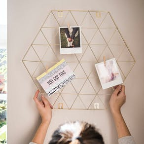 Gold Metal Hexagon Photo/ Card Display