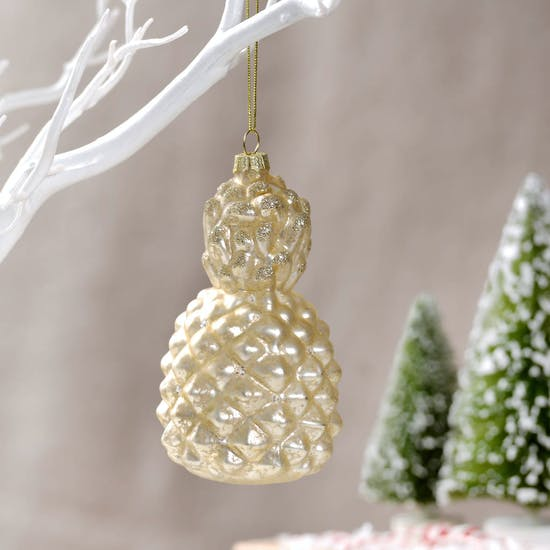 Sparkly Gold Pineapple Bauble