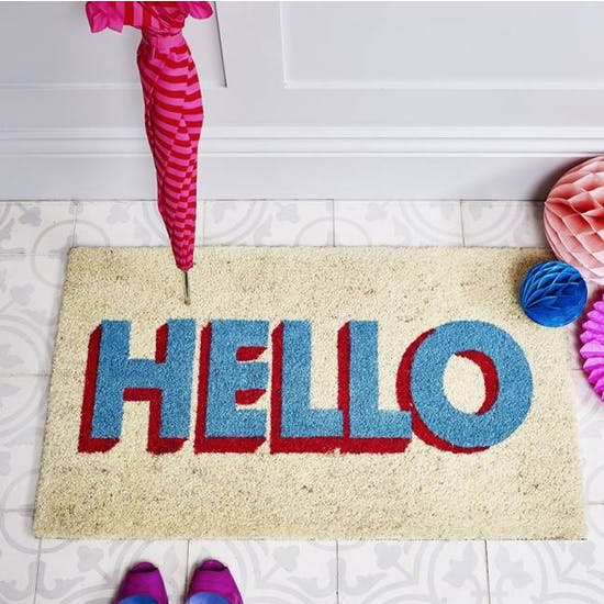 Hello Typographic Door Mat