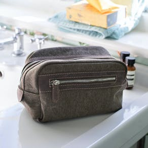 Leather And Canvas Luxe Wash Bag