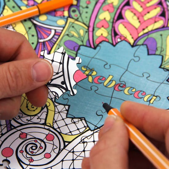 Personalised Adult Colouring Wooden Jigsaw