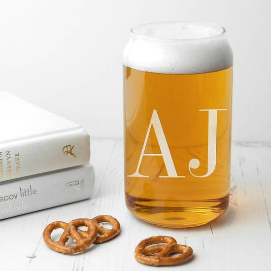 Monogrammed Can Shaped Glass
