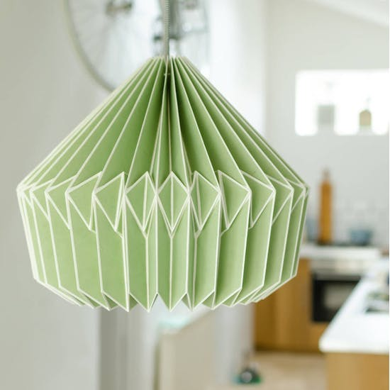 Paper Origami Style Lampshade In Soft Green