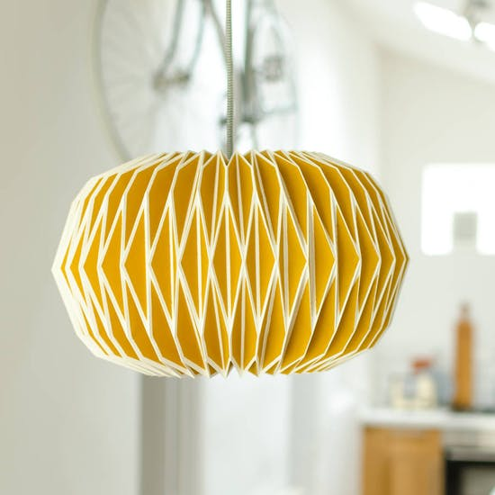 Paper Origami Style Lampshade In English Mustard