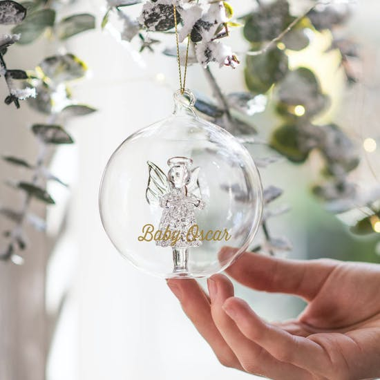 Personalised Angel Glass Bauble