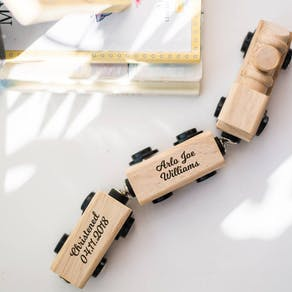 Personalised  New Baby Wooden Train