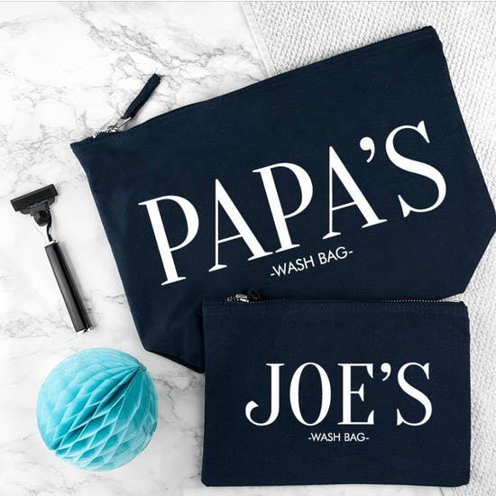 Personalised Daddy And Me Wash Bags