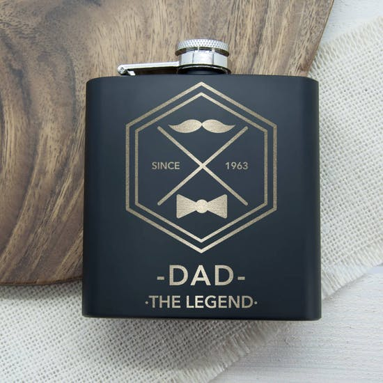 Dads Black Vintage Style Hip Flask