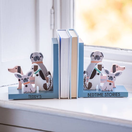 Personalised Wooden Dog Nursery Bookends