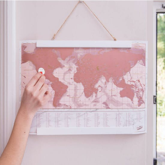 Personalised Framed Metallic Rose Scratch Map