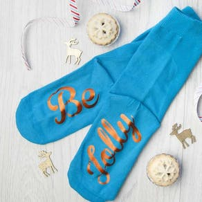Personalised Gold And Blue 'Be Jolly' Socks
