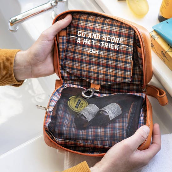 Personalised Hang Up Leather Wash Bag