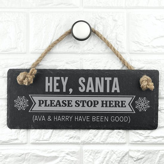Personalised Hey Santa! Slate Hanging Sign