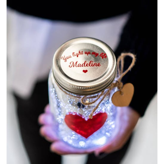 Personalised Love Heart LED Firefly Jar