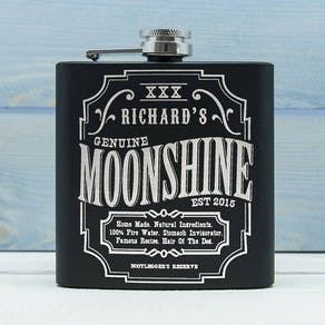 Personalised Moonshine Vintage Hip Flask