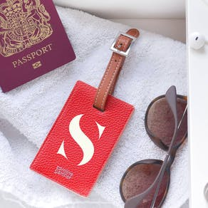Personalised Monogram Red Luggage Tag