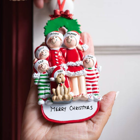 Personalised Family With Dog Hanging Decoration