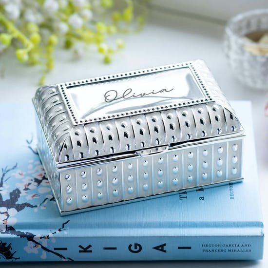 Personalised Silver Ornate Box