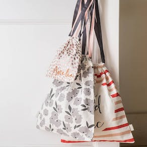 Personalised Cotton Drawstring Travel Bag Set
