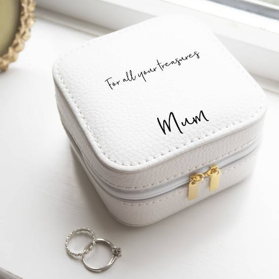 Personalised White Travel Jewellery Case