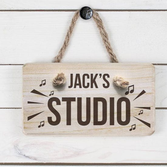 Personalised Wooden Music Studio Sign