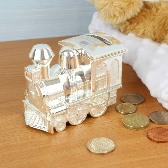 Personalised Engraved Silver Train Money Box