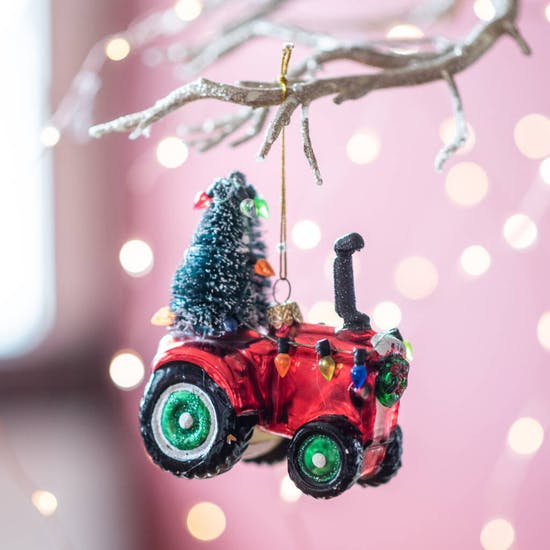 Christmas Red Tractor With Tree Bauble