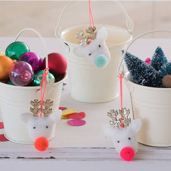 Set Of Reindeer Pom Pom Decorations