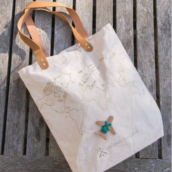Stitch Your Own Canvas Bag With Leather Handles
