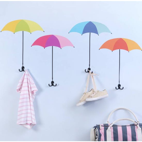 Umbrella Shape Wall Sticker And Coat Hooks