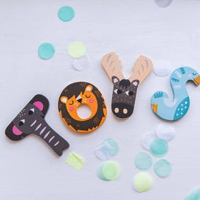 Wooden Cute Animal Letters