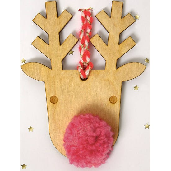 Wooden Reindeer With Pom Pom Nose