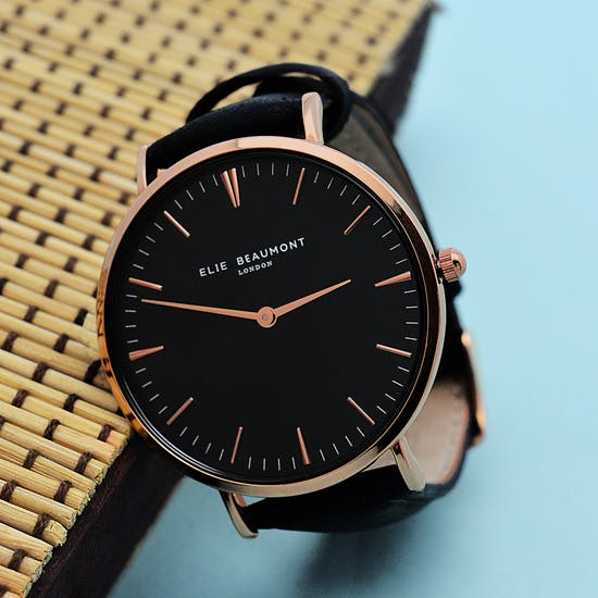 Personalised Black Leather Watch