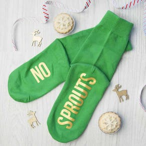 Personalised 'Sprout Green' Christmas Day Socks
