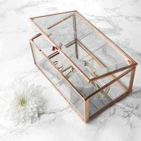 Rose Gold Bevelled Glass Jewellery Box