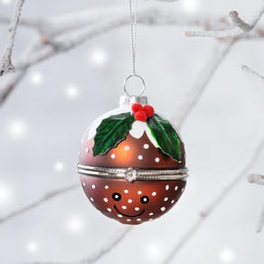 Christmas Pudding Happy Face Locket Bauble
