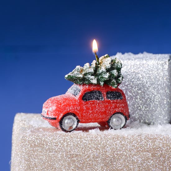 Festive Red Car With Gifts Candle