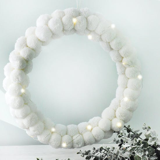 White Pom Pom Wreath